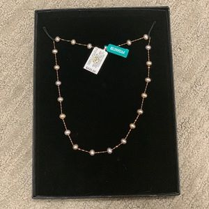 Effy Rose Gold and Pink Pearl Necklace